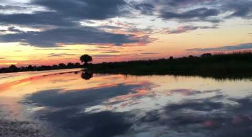 Sunset boat cruise in the Linyanti in Botswana.