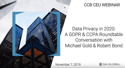 Data Privacy, GDPR & CCPA in 2020: Perspectives with Robert Bond &  Michael Gold