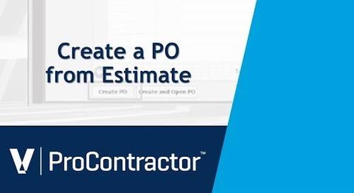 ProContractor Create a PO from Estimate