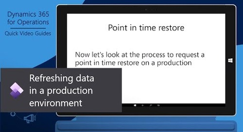 Refreshing data in a production environment