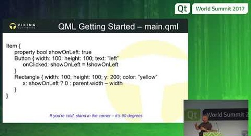 QML For C++ Developers by Bo Thorsen, Viking Software at QtWS17
