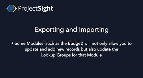 ProjectSight Training - Exporting and Importing