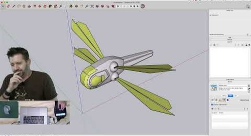 Modeling an Ornithopter from Dune live in SketchUp