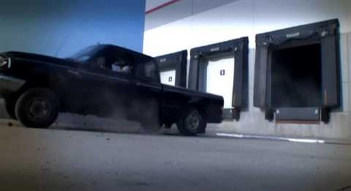Ford Truck Driving off Loading Dock - Super Slowmotion High Definition