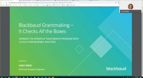 Blackbaud Grantmaking for Foundations | Overview Demo