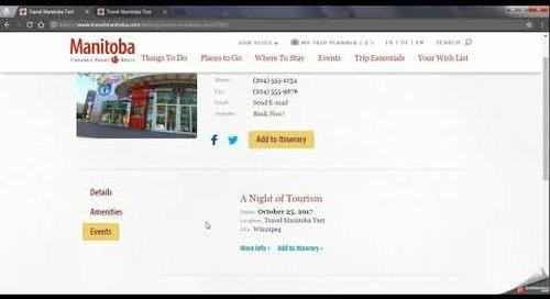 Travel Manitoba Partner Extranet 4.0 - Calendar of Events