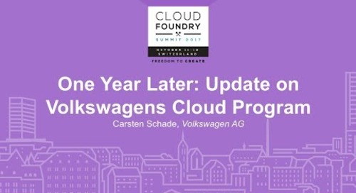 One Year Later: Update on Volkswagens Cloud Program - Carsten Schade, Volkswagen AG