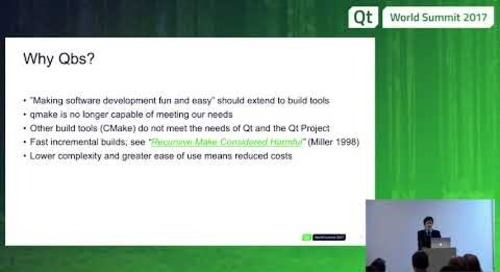 QtWS17 - Qbs – Build Systems State of the Union, Jake Petroules, The Qt Company