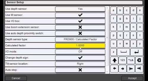 9. Trimble DPS900 V1.2 - Sensor Setup: Calibrate the 'FRD900/Calculated Factor' Depth Sensor Type