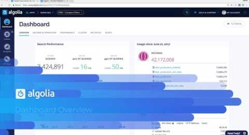 Algolia dashboard overview