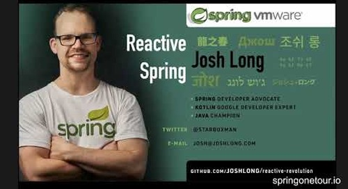 SpringOne Tour - Spring Tips and Reactive Spring Day 1  - with Josh Long