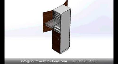 Nurse Server Pass-Thru Patient Room Storage Cabinet for Managing Hospital Medical Supplies
