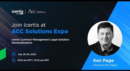 Icertis Contract Intelligence for Legal Professionals — ACC Solutions Expo Technology Demonstration