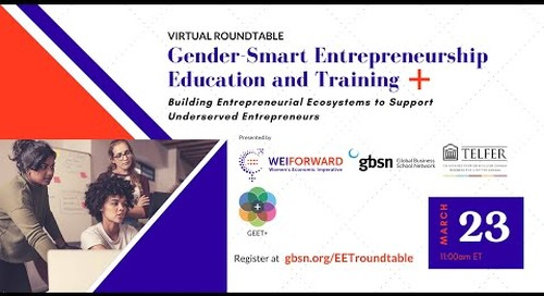 Virtual Roundtable - Gender-Smart Entrepreneurship Education and Training Plus Action Strategy