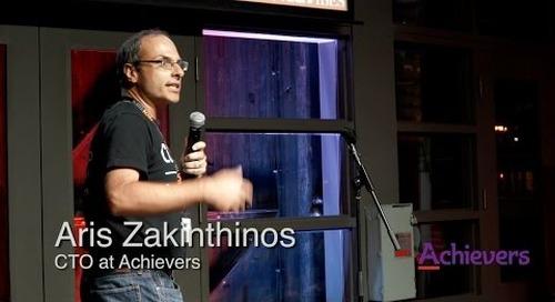 Aris  Zakinthinos pitches Achievers at Tech Fest Toronto