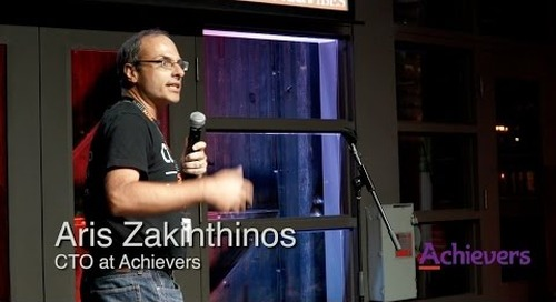 Aris  Zakinthinos pitches Achievers at Tech Fest Toronto