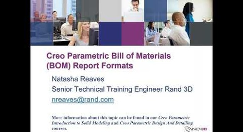 Creo Parametric Bill of Materials (BOM) Report Formats
