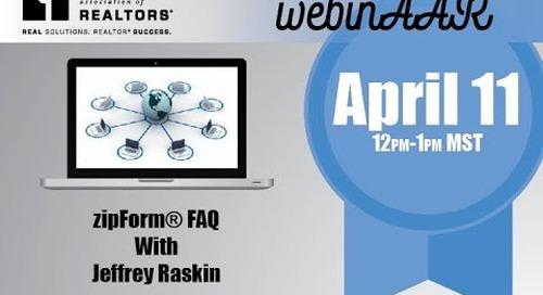 zipForm FAQ Webinar April 11, 2018