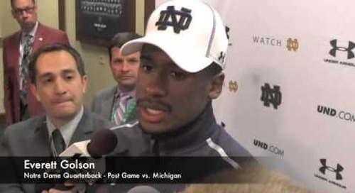 Everett Golson - Post Game - Notre Dame vs. Michigan