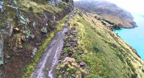 Quake-damaged Sumner Rd (Evans Pass), Christchurch Drone's View