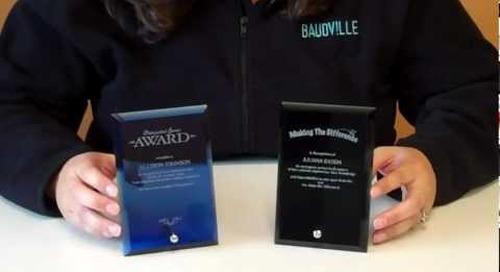 Mini Glass Plaque Employee Award
