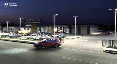 D Series LED Area Size 2 Illuminates Automotive Dealership