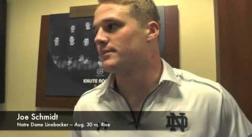 Notre Dame LB Joe Schmidt - Aug. 30 vs. Rice