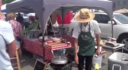 Crepes flipping at the Farmers Market in Sturgeon Bay, Door County.
