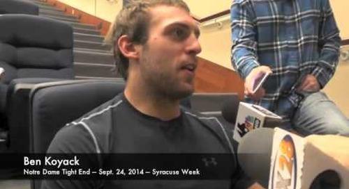Notre Dame TE Ben Koyack - 9/24/14 - Syracuse