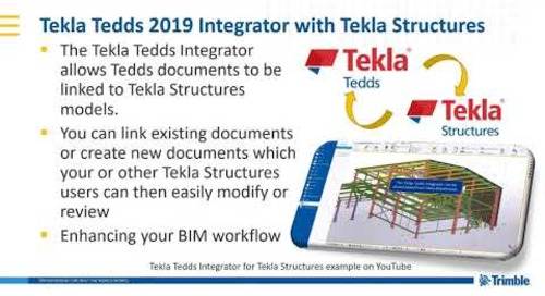 Tekla Structures Integrator for Tekla Tedds 2019