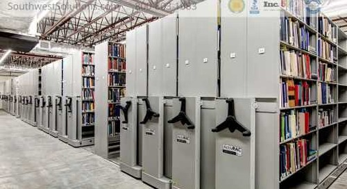 High Density Mobile Book Shelving Saves Library Storage Space