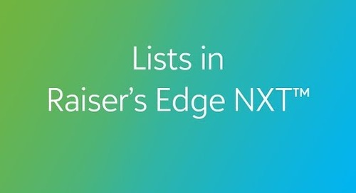 Raiser's Edge NXT - Lists