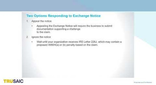What options do I have for responding to an exchange notice - Webinar - Trusaic