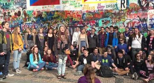 """Branford High School Singing """"Imagine"""" - John Lennon Wall, Prague"""