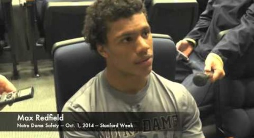 Notre Dame DB Max Redfield - 10/1/14 - Stanford