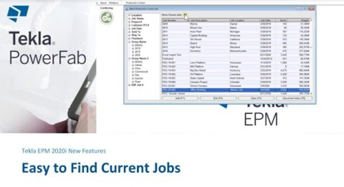 Easy to Find Current Jobs in Tekla EPM 2020i