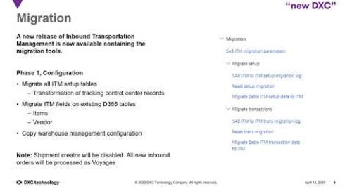 Important changes to your DXC Inbound Transport Management Solution