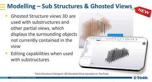 Substructures and ghosted views in Tekla Structural Designer 2019i
