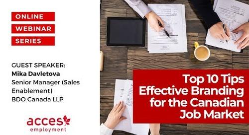 Top 10 Tips - Effective Branding for the Canadian Job Market