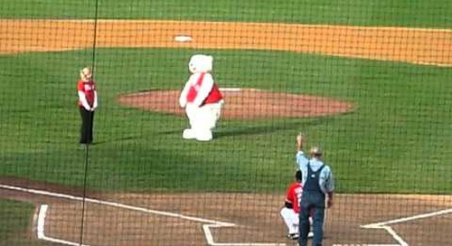 Toba Throws First Pitch at Fargo Red Hawks Game!