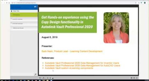Hands-on Copy Design Functionality in Vault 2020