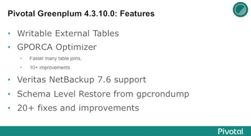 Pivotal Greenplum 4.3.10.0 features writable AWS S3 External Tables