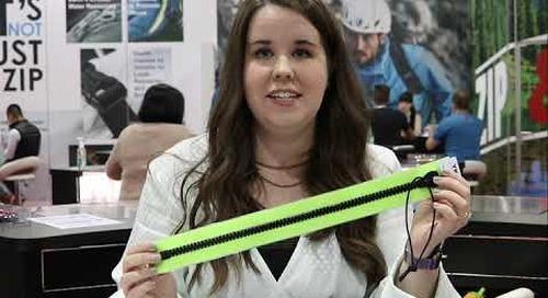 Crystal Ziegler introduces YKK's AQUAGUARD® and AQUASEAL® Zippers at Outdoor Retailer Show