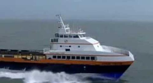 HamiltonJet Video 2 - The Cheetah, 50.9m (165') crew boat - Quad HM811 - 42 knots with crew