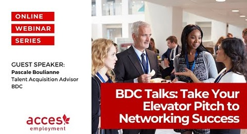 BDC Talks: Take Your Elevator Pitch to Networking Successfully
