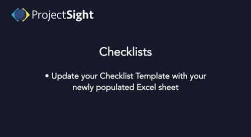 ProjectSight Training - Checklists