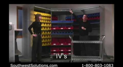 Medical Supply Carts Plastic Bin Storage on Wheels