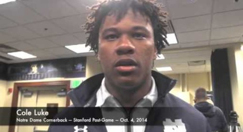 Notre Dame CB Cole Luke After Win Over Stanford - 10/4/14