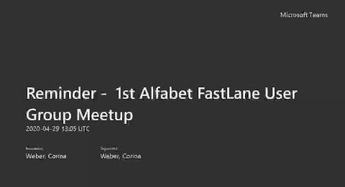 Alfabet FastLane User Group Meetup