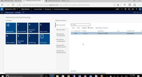 Using General Journal Processing to Create a New Journal in Dynamics 365 for Operations